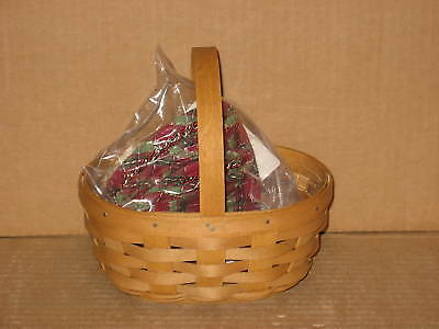 Longaberger Small Oval Gifts Basket Warm Brown Holiday liner protector MINT!