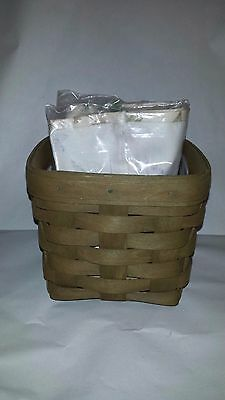 Longaberger Olive Stain Teaspoon  Basket Set - Botanical Fields Liner - MINT!