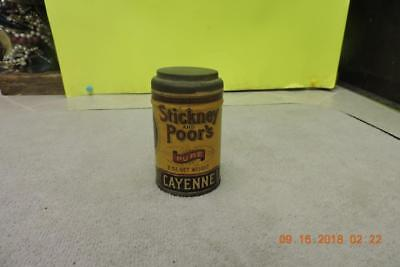 Antique 1890's Stickney Poor's Cayenne Paper Lable Sealed Round Metal Spice Tin