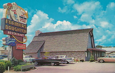 ROADSIDE THE FARMERS DAUGHTER RESTAURANT c.1960GREAT SIGNAGE in Evansvill IN!!!