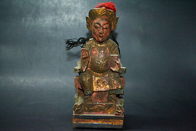 Collectible Chinese Handwork Old Wood Carved Long Braid General Figure Statue