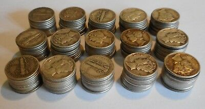 Mercury Silver Dimes - Big Lot of 150 Coins - $15 Face Value