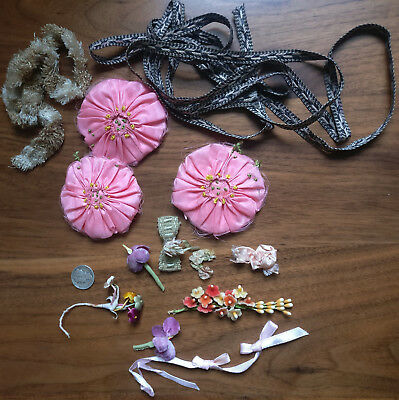 Lot Vintage Pink Puffed Flowers Dress Trim Millinery Flowers Ribbonwork 1930s