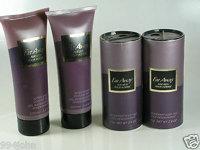 Avon LOT OF FAR AWAY PRODUCT FOR MEN  2.6 ozs.  BODY TALC AND AFTERSHAVE GEL