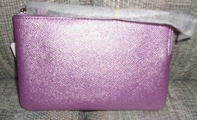 NWT Authentic Coach Crossgrain Leather Corner Zip Wristlet F21070 Metallic Lilac