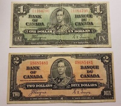 LOT OF 2 Canadian Currency Notes 1937  1 &  2 Dollars *SHARP*