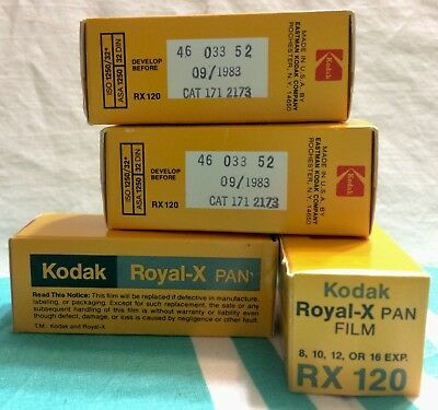 4 Rolls Of Kodak 120 Royal - X Rx 120  Pan Film Never Opened Original Box