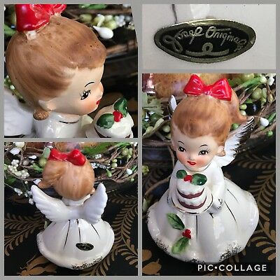 Vintage Josef Originals Holly Christmas Cake Angel Figurine EUC December  Japan