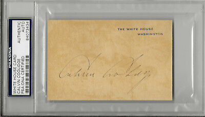 President Calvin Coolidge & Grace Autographed  White House Cards Slabbed Psa/dna