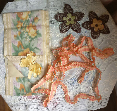 Lot Antique French Ombre Ruched Ribbon Watered Roses Silk Case & Pair Dress Trim