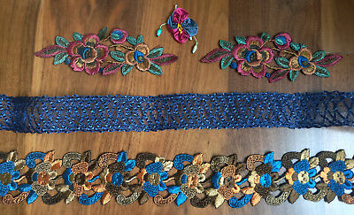 Lot Vintage Millinery Ribbon & Silk Floral Applique Dress Trims Ribbonwork Navy