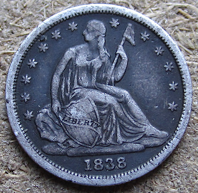 1838 Small Stars Liberty Seated Dime, Early Date, Crusty Original, VF Details