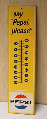 1960s PEPSI COLA 28 INCH METAL THERMOMETER NICE CONDITION