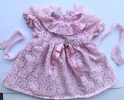 Vintage Baby Girls Toddler Frilly Ruffle Lace80's 90's  Kids Clothes Dress