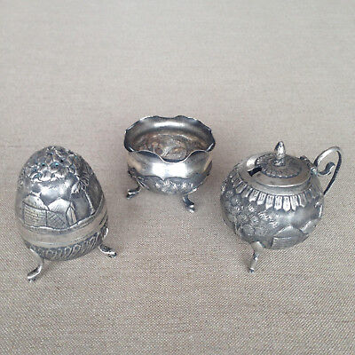 Rare antique Indian colonial silver repousse pepper pot, salt and mustard