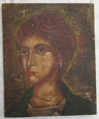 Antique 19 th C  Hand Painted wood Icon painting