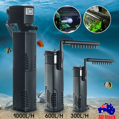 AU 300-1000L/H Aquarium Fish Tank Pump Internal Submersible Pond Water Filter LT