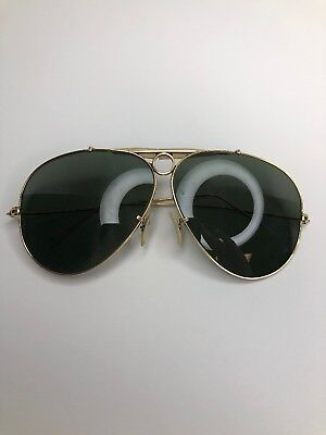 B&L Ray Ban 1/10 12KGF 58mm Gold Shooters Bullet Hole Aviator Vintage Sunglasses