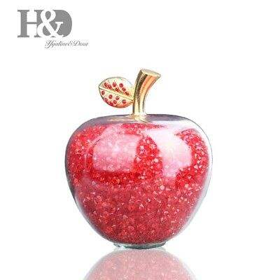 Red Apple Figurine Crystal Paperweight With Rhinestone Wedding Home Decor 80mm