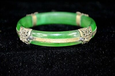 Rare Old Collectible Handwork Green Jade & Tibet Silver Butterfly China Bracelet
