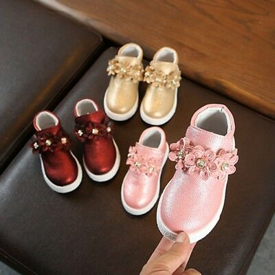Cute Baby Girls Shoes Leather First Walkers Soft Bottom For Kids Toddler 1-4Y US