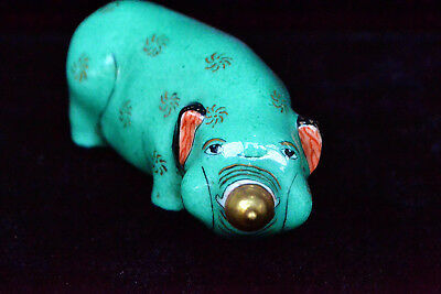Collectible Rare Chinese Old Porcelain Handwork antique rich Pig Snuff Bottle
