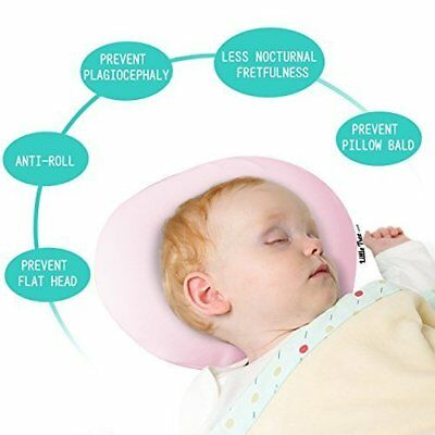 Soft Baby Cot Pillow Memory Foam Cushion Sleeping Support Prevent Flat Head Pink