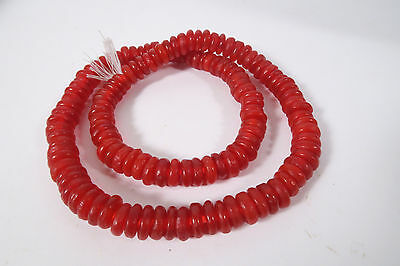 Pulverglasperlen 11mm Rot Red Spacer Ghana Recycling Beads Afrozip