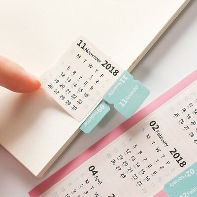 2pcs 2018 Monthly Calendar Index Tabs Stickers 15 Tab Notes Label Markers WE9X