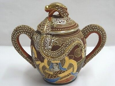 Otani Dragon Japanese Moriage Gilded Satsuma Hand Painted Japan Sugar Bowl & Lid