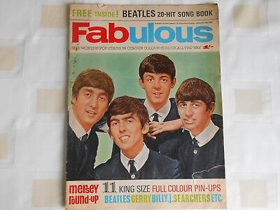 FABULOUS MAGAZINE BEATLES inc FREE 20HIT SONG BOOK