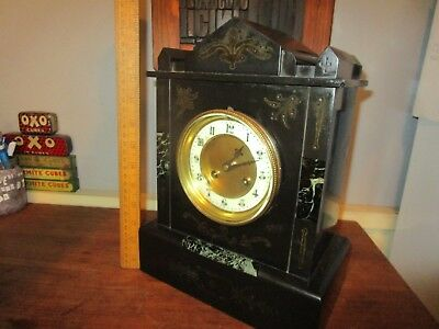 Antique Victorian French Slate Mantel Clock . Round Brass movement - Paris maker