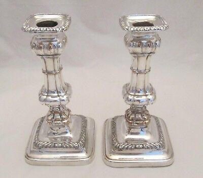 A Good Pair of late 19thC Silver Plated Candlesticks - Square Bases