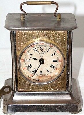 """Antique """"junghans"""" Carriage Alarm Clock W/ Cylinder Music Box & Military Dial."""