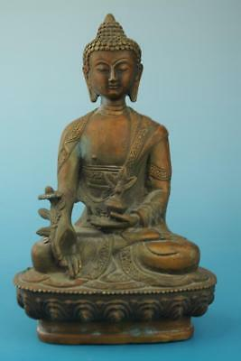 Antique china hand made copper Medicine Buddha statue old collect e02