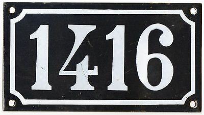 Old blue French house number 1416 door gate plate plaque enamel steel metal sign