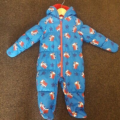 Next Cute Boys Hooded And Padded Fire Engine Snowsuit 9-12 Months Vgc
