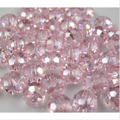 Diy Jewelry 70pc 6*8mm Faceted Rondelle glass crystal Beads pink+AB