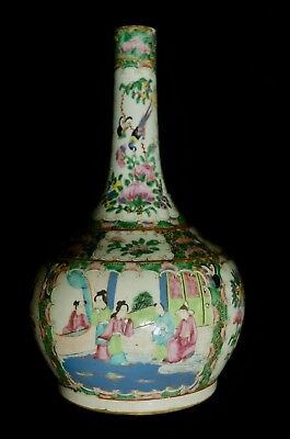 Large 19th Century Chinese Famille Verte Bottle Vase  panelled scenes 34cm tall
