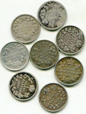 Canada 5 Cents silver lot of (8) mixed dates  lotsep3002
