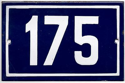 Old blue French house number 175 door gate plate plaque enamel steel metal sign