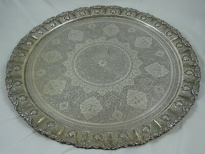 LARGE PERSIAN solid silver SERVING TRAY, c1930, 1254gm