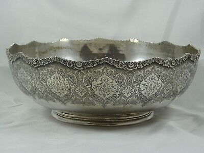 LARGE PERSIAN solid silver FRUIT BOWL, c1930, 869gm