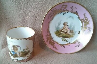 Antique French Sevres Porcelain Fond Rose Gilded Body Cup & Saucer Cherub 18 Cen