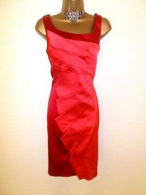 Beautiful Karen Millen Red & Coral Fan Pleated Fitted Evening Dress 10