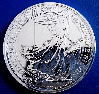 2012 Two Pound Britannia, 1 troy ounce of pure silver + capsule - top grade
