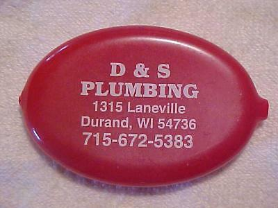 Vintage Red Rubber SQUEEZE Coin Purse Advertising D&S Plumbing Durand WI
