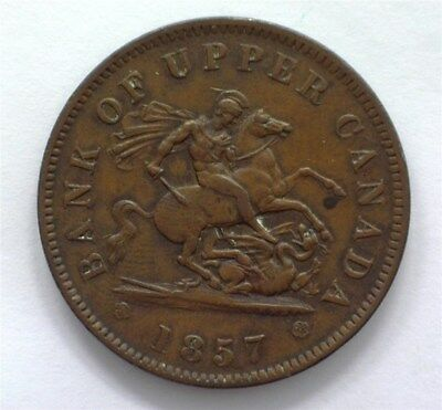 Upper Canada 1857 Penny Bank Token Extremely Fine
