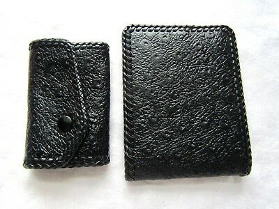 Vintage Black Koret Designer Ostrich Leather Fold Wallet Key Holder Orig. Box