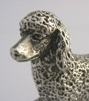 ENGLISH SILVER PLATE DOG POODLE ANIMAL FIGURE c1950s